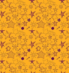 Star sketch Doodles seamless pattern hand drawn vector image