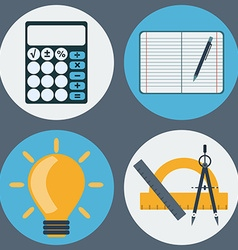 School supplies education objects icons set vector