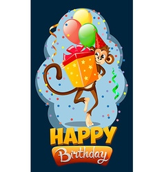 Appy birthday with monkey gift 2 vector