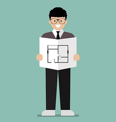 Architect flat cartoon vector