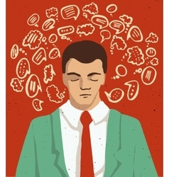 Businessman portrait - thinking man with speech vector image