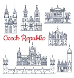 Czech republic thin line travel landmarks vector