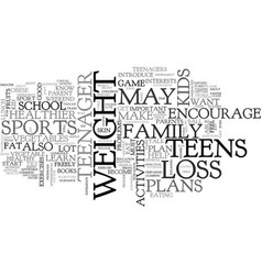 A guide for parents on weight loss plan for teens vector