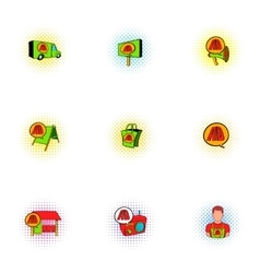 Advertising icons set pop-art style vector
