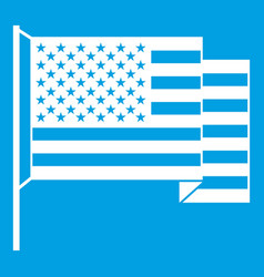American flag icon white vector