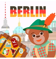 Bear in Berlin in national symbol hat with a suitc vector image vector image
