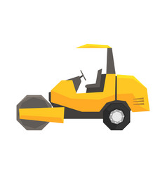 Big yellow road roller heavy construction machine vector