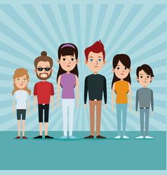 Cartoon community people caucasian group age vector