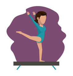 Color scene with faceless woman gymnast vector