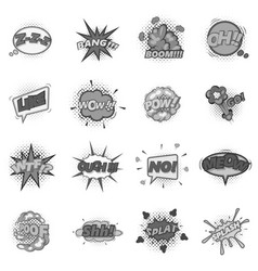 Comic sound cloud set monochrome vector