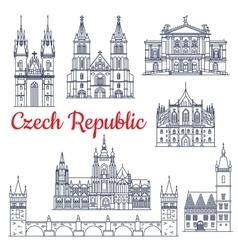 Czech republic thin line travel landmarks vector