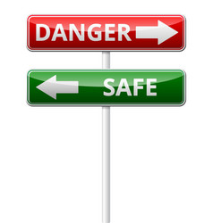 Danger safe traffic sign with reflection isolated vector