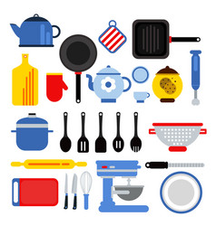 different kitchen tools set isolated on white vector image vector image