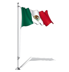 Flag Pole Mexico vector image vector image