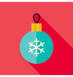 Flat Design Decorative Christmas Ball Icon vector image vector image