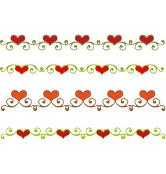 floral heart border vector image vector image