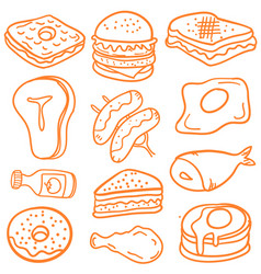 food various of doodles vector image