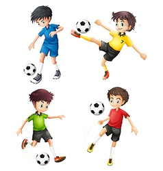 Four soccer players in different uniforms vector image vector image