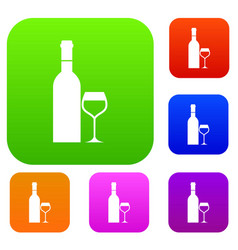 glass and bottle of wine set collection vector image vector image