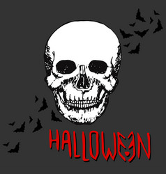 Halloween night concept poster skull print vector