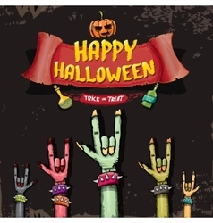 Happy halloween card with zombie hand vector
