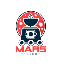 Logo of red planet and explorer rover with vector
