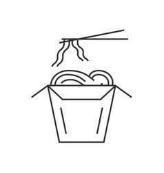 Noodles in thin line box with chopsticks vector