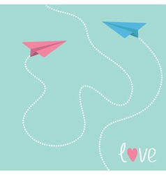 Pink and blue origami paper planes Love card vector image vector image