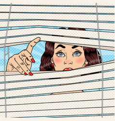 Pop art shocked woman looking through the blinds vector