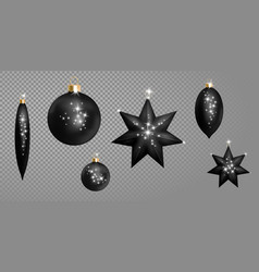 realistic 3d black christmas ball fir toys star vector image