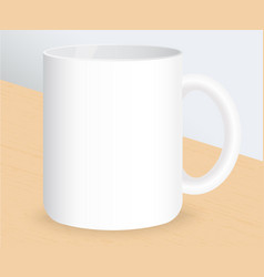Realistic white coffee cup on wooden table vector