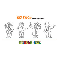 Science professions coloring book set vector