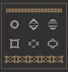 Set of Art Decorative Geometric Logos and Borders vector image