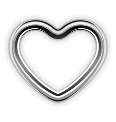 silver metal heart shape vector image vector image