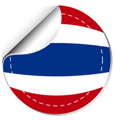 Thailand flag on round sticker vector