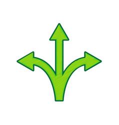 three-way direction arrow sign lemon vector image