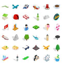 Tourism landmark icons set isometric style vector