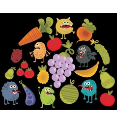 Vegetables and fruits with microbes vector