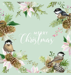 winter christmas birds greeting card vector image
