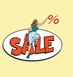 Woman customer sales and discounts vector