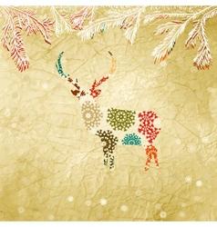 Vintage christmas deer pattern vector