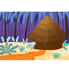 Hut in nature vector