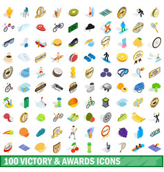 100 victory and awards icons set isometric style vector