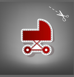 Pram sign red icon with for vector