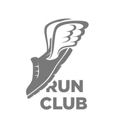 Professional run club logotype with flying shoe vector