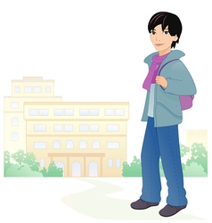 Boy student vector image