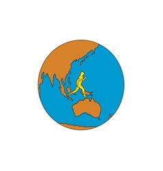 Marathon runner running around world asia pacific vector