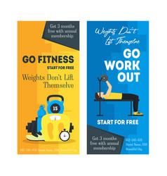 Cartoon fitness sport banner card vertical set vector