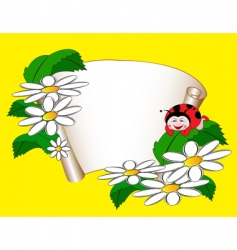 Card with daisies and ladybug vector