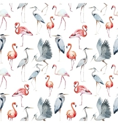 Flamngo and heron pattern vector